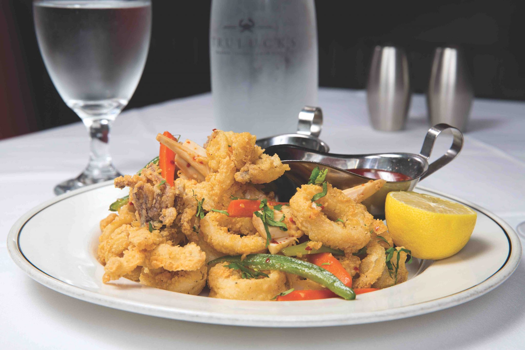 Fried calamari tossed with stir-fry vegetables