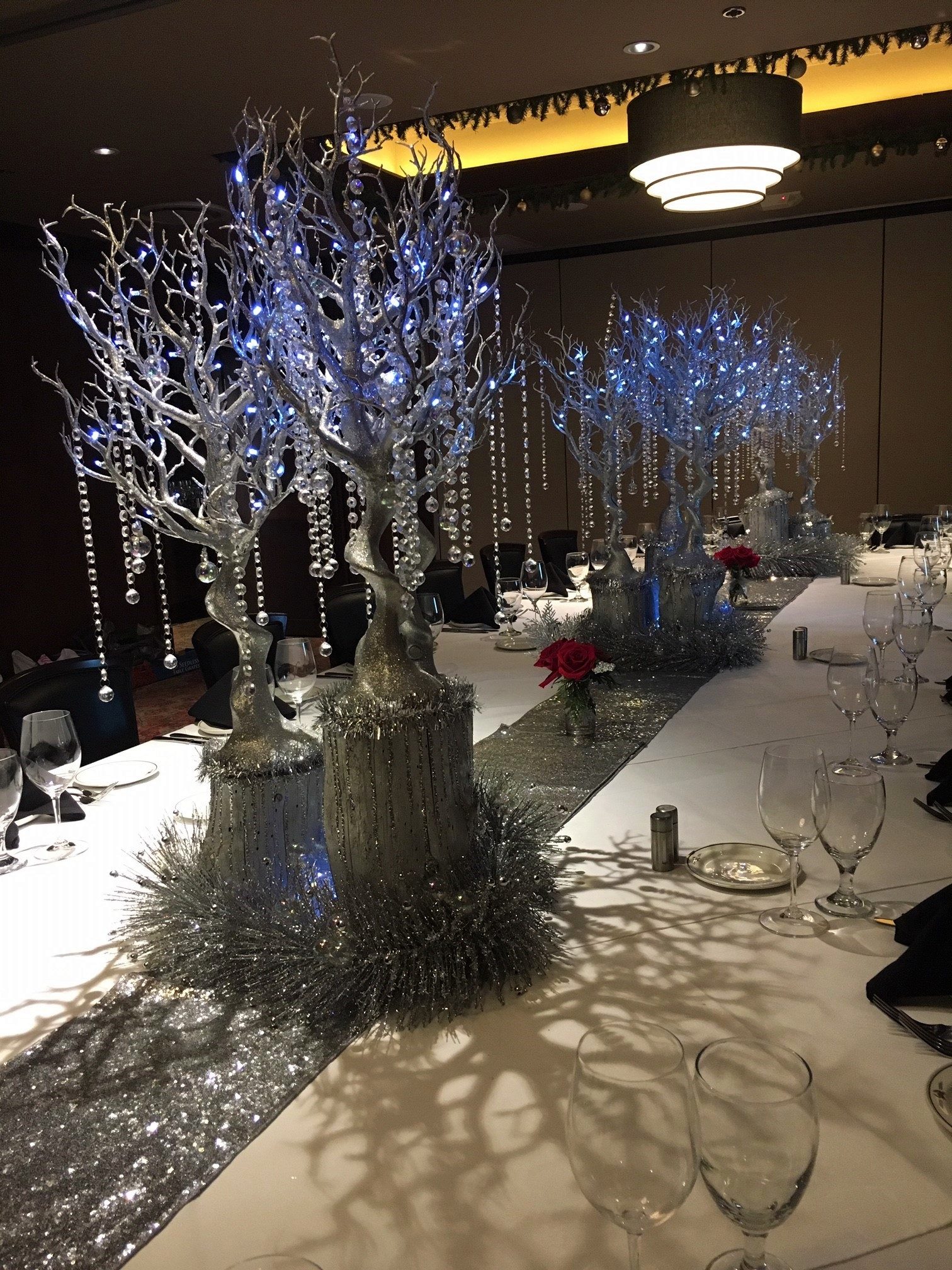 Dallas private dining room decorated with silver holiday decorations