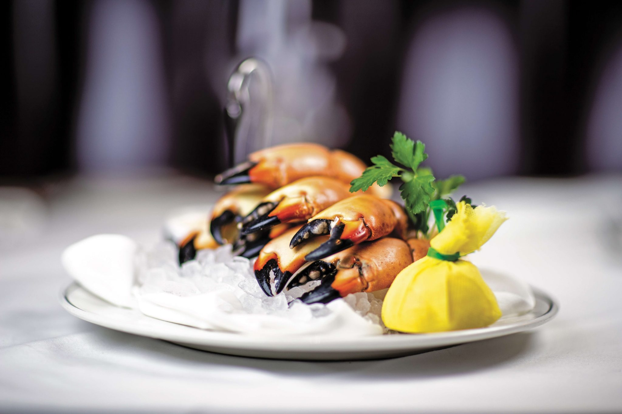 Florida stone crab legs, laying on ice with a fresh lemon ready to squeeze