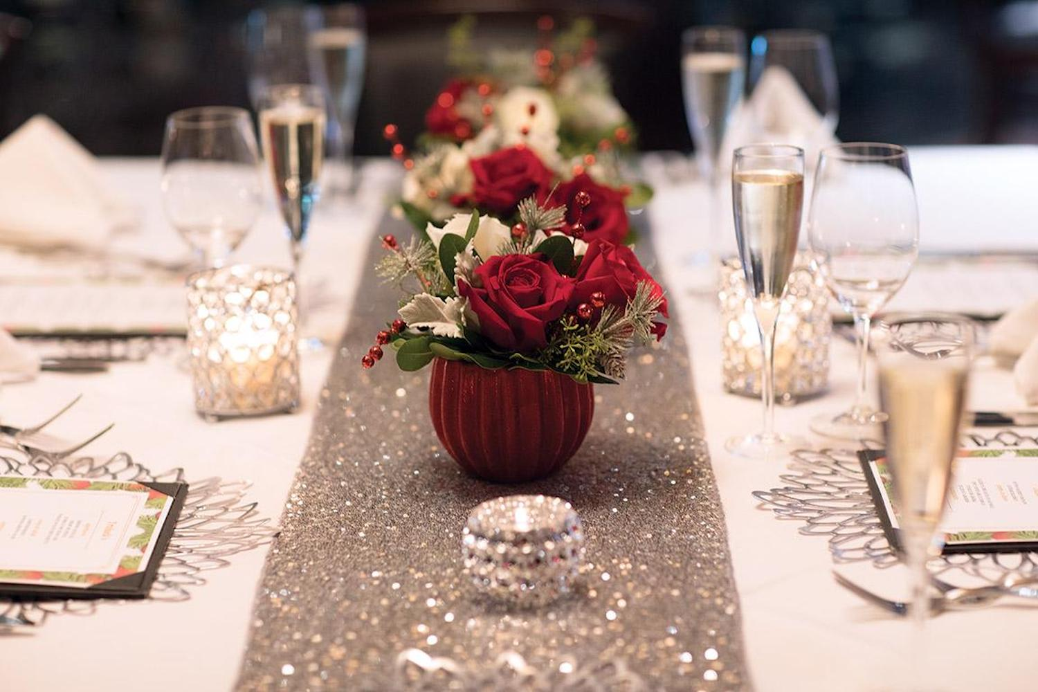 Detail of a formal table setting at a private event