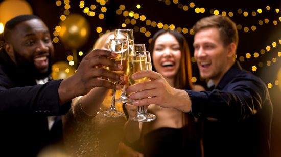 picture of Friends toasting champagne at a party