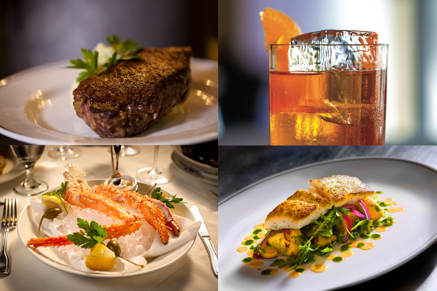 Combination picture of New York Strip, Truluck's House Old Fashioned Cocktail, King Crab Leg Cluster and Dutch Hamachi