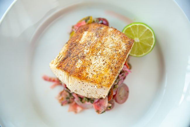 picture of DUTCH HAMACHI pan-seared mild fish with tomato, grape, mint, dill, and lime