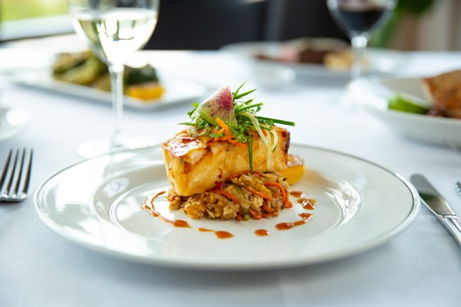 picture of MISO-GLAZED SEABASS crab fried rice, chilled cucumber slaw