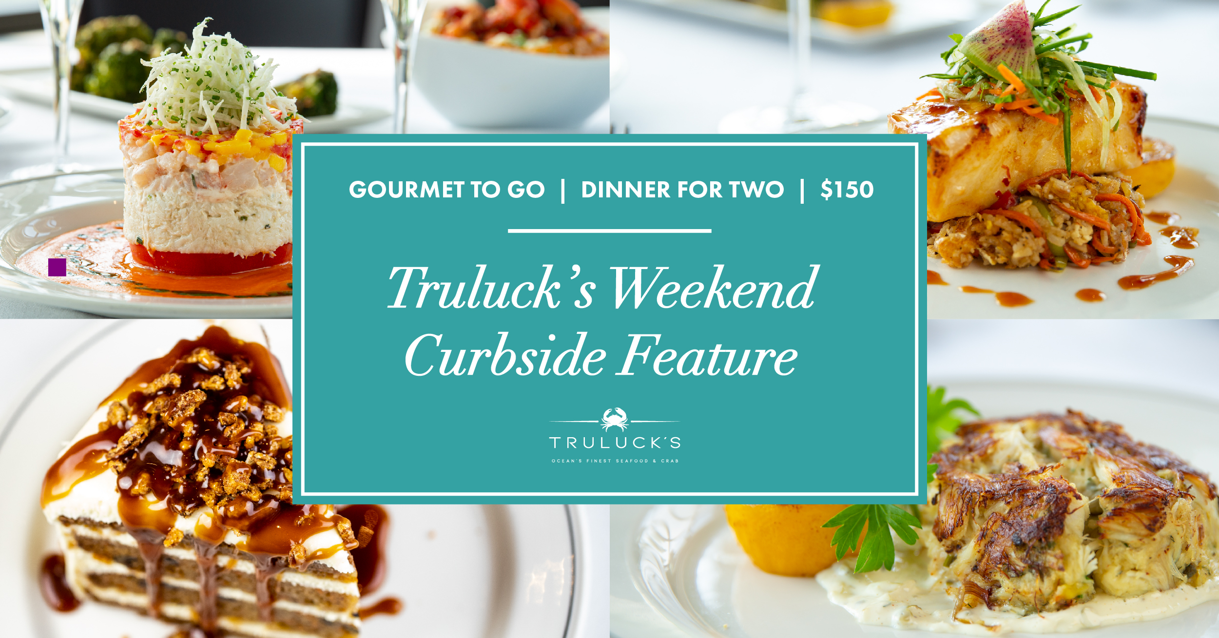 Austin Weekend Curbside March 5 & 6th offering including crab and shrimp Napoleon, Miso glazed seabass, carrot cake and jumbo lump crab cake,