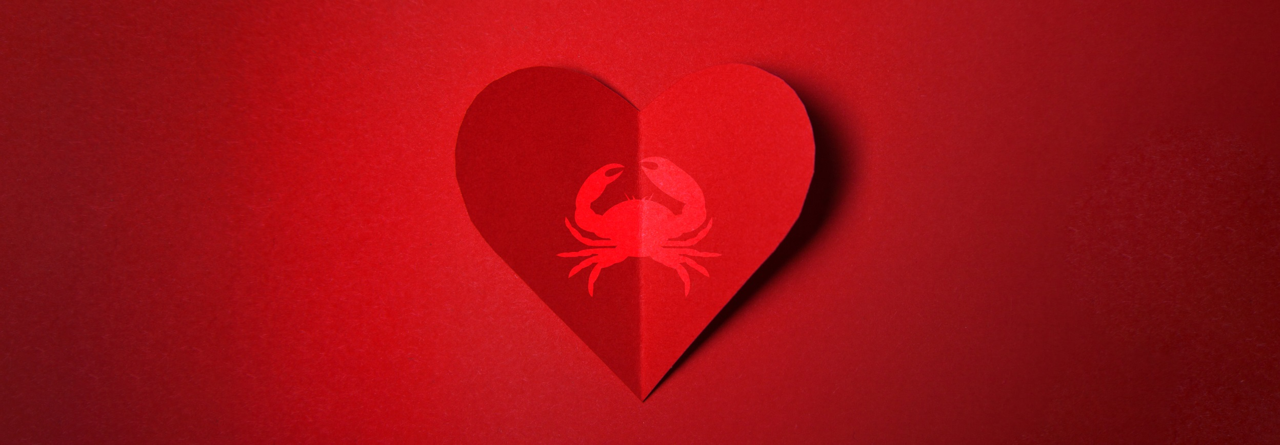 Valentine's Day card with heart and crab.