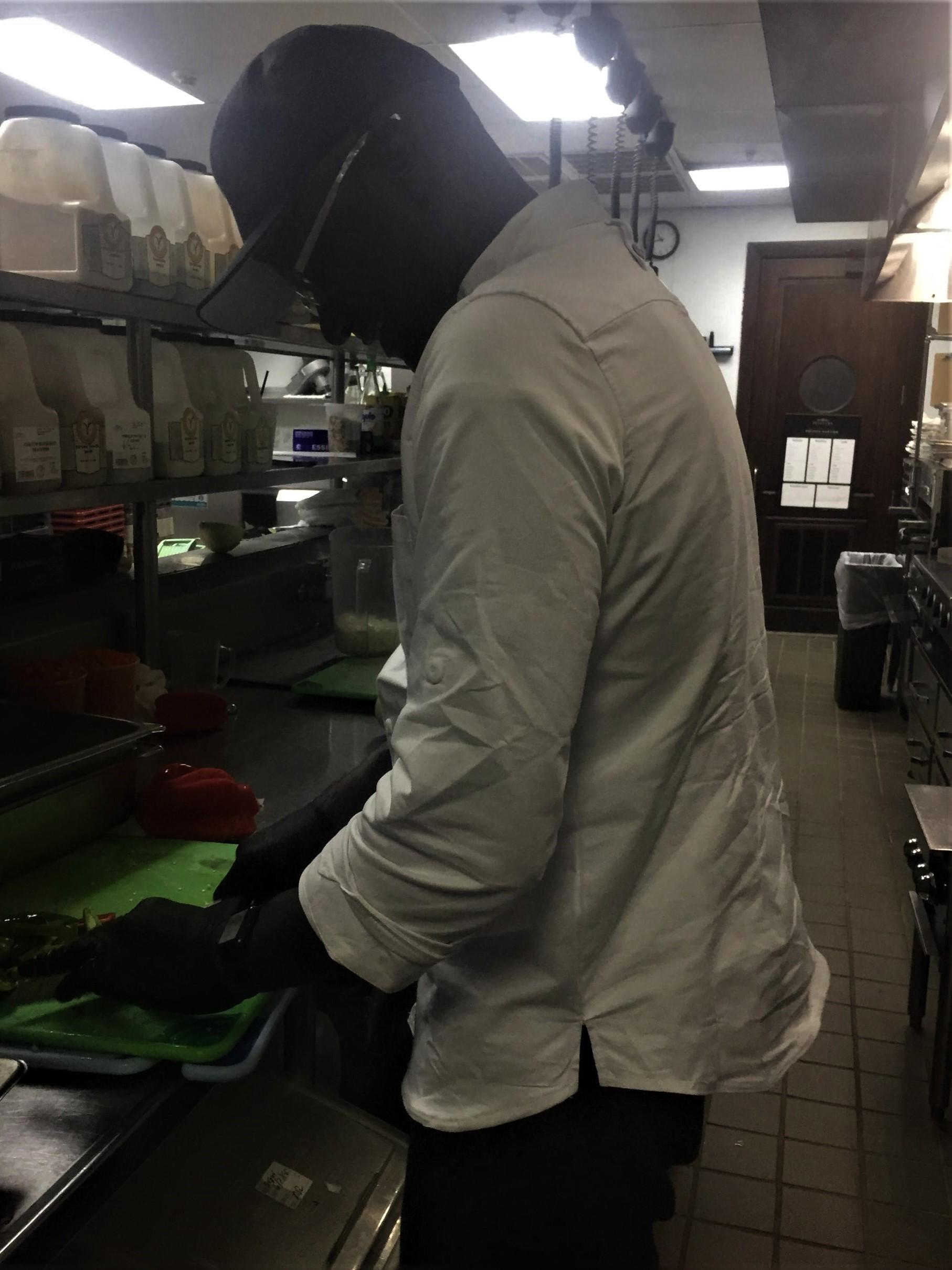 Chef Johnson Olawunmi on the kitchen line