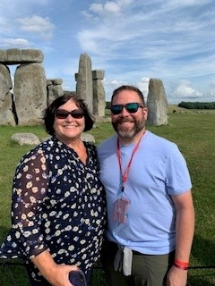 picture of Bond Davis and a friend at Stone Henge