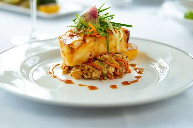 picture of Miso glazed seabass with crab fried rice and cucumber slaw
