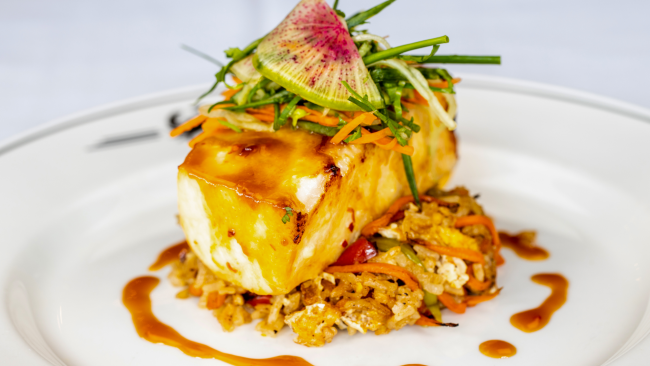 picture of miso glazed seabass with crab fried rice