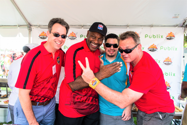 Chef Michael Cerny with three other gentlemen at the South Beach Food Festival