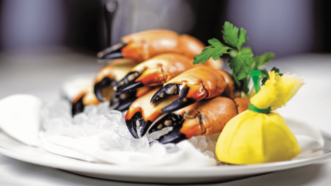 picture of fresh Florida stone crab claws on ice with a wrapped lemon and sprig of parsley